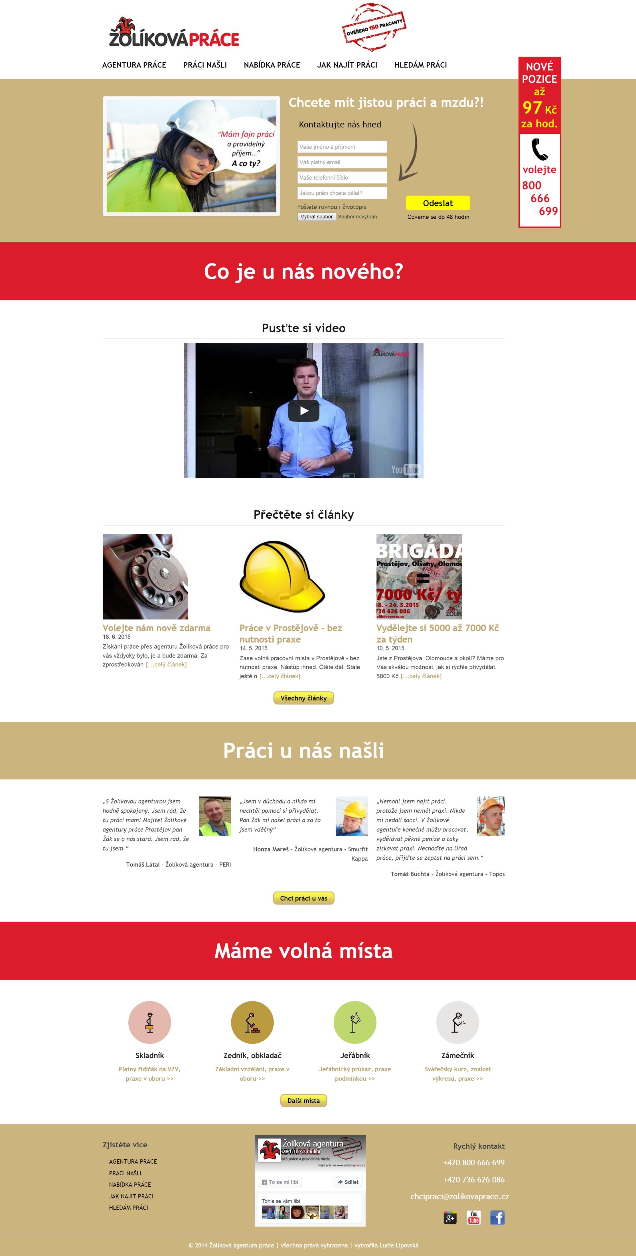 Kompletní úvodní stránka ZolikovaPrace.cz