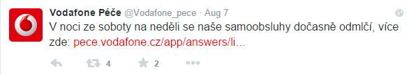 Péče Vodafone na Twitteru