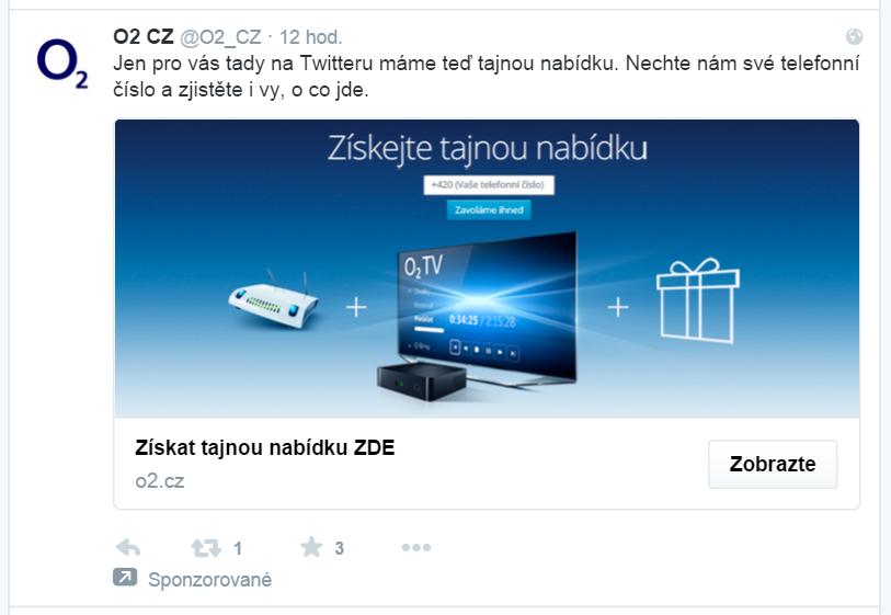 Twitter reklama od O2 - proklik na web DigitalniDurian.cz