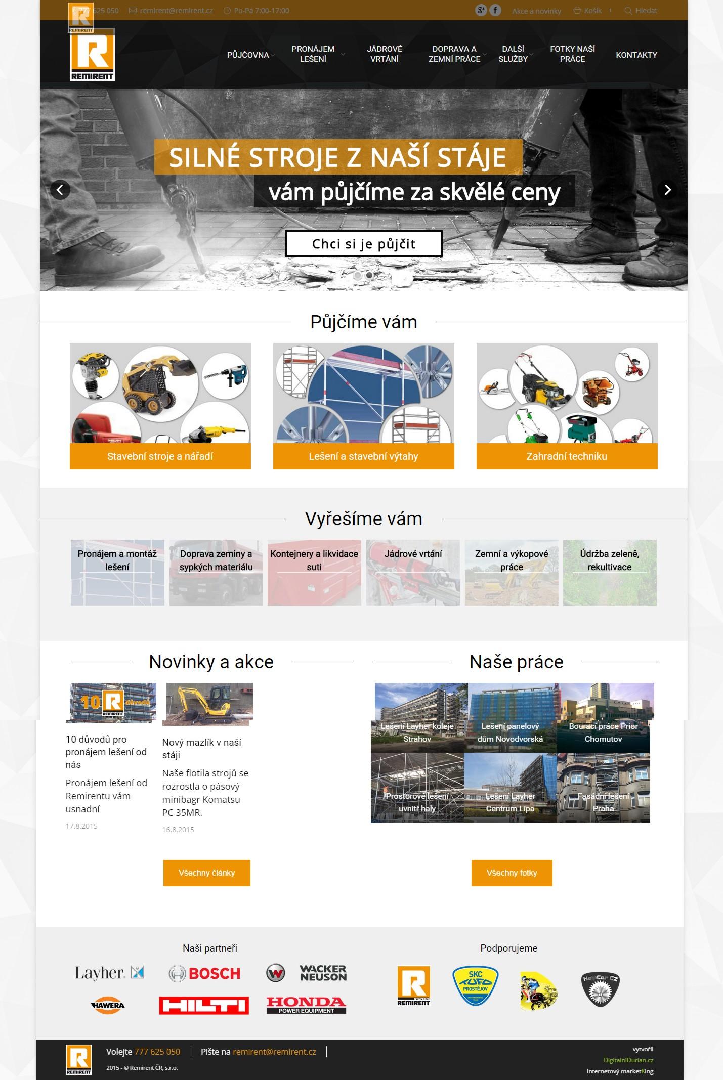 Kompletní homepage Remirent.cz s přehledem služeb, články a fotkami z nedávných relaizací