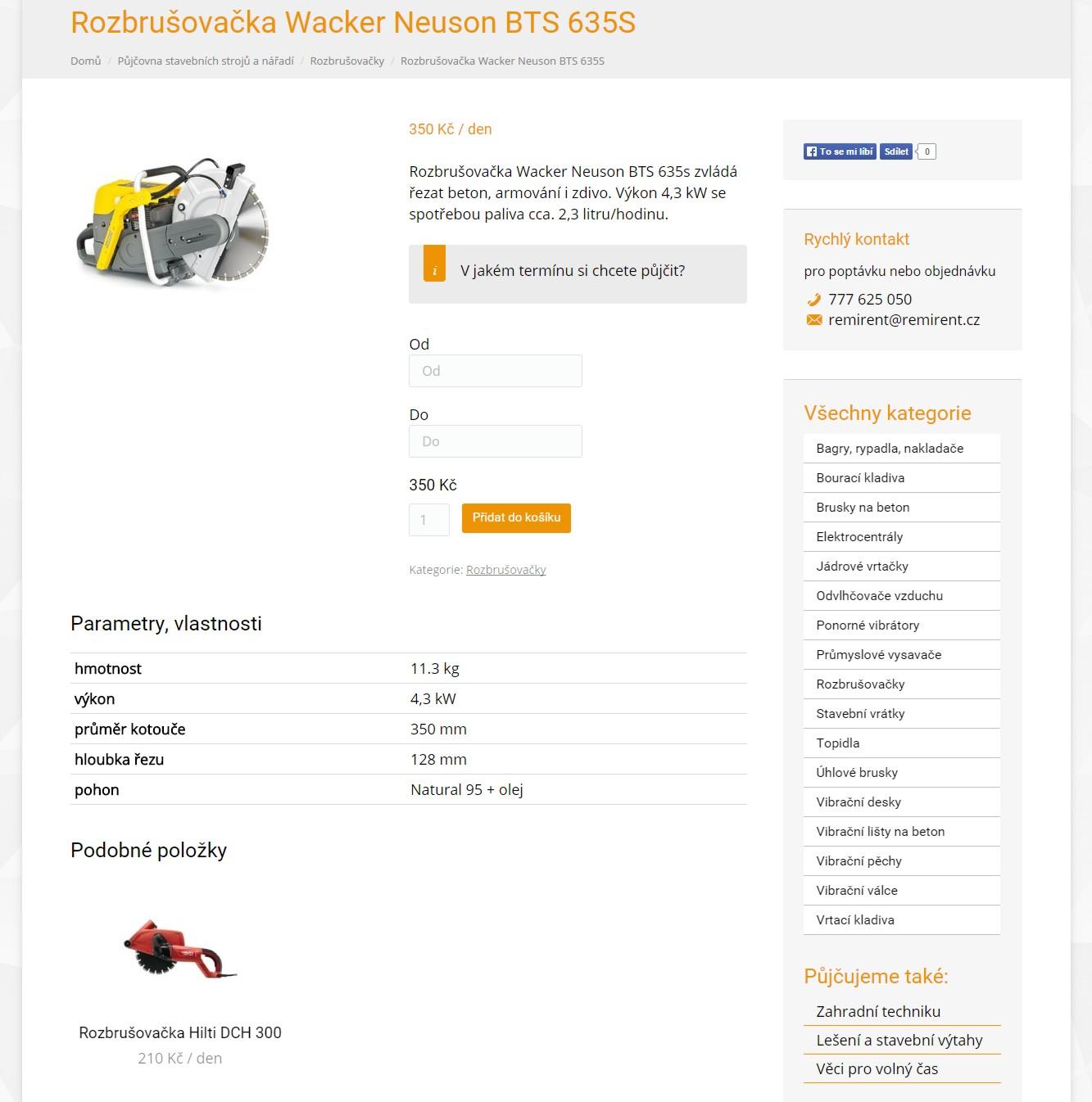Jednotlivá položka půjčovny s výběrem rezervačního termínu, detailním popisem a podobnými produkty