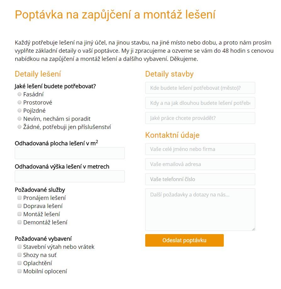 Kromě online rezervace je na webu také množství poptávkových formulářů na další služby