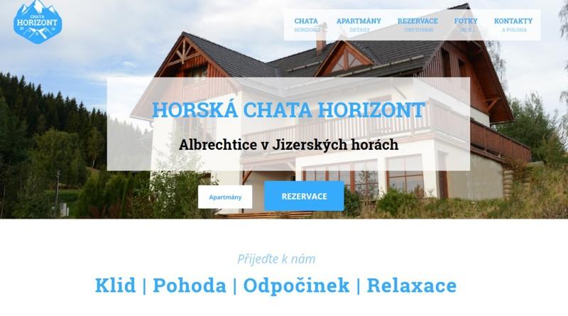 Web Chata Horizont Albrechtice v Jizerských horách